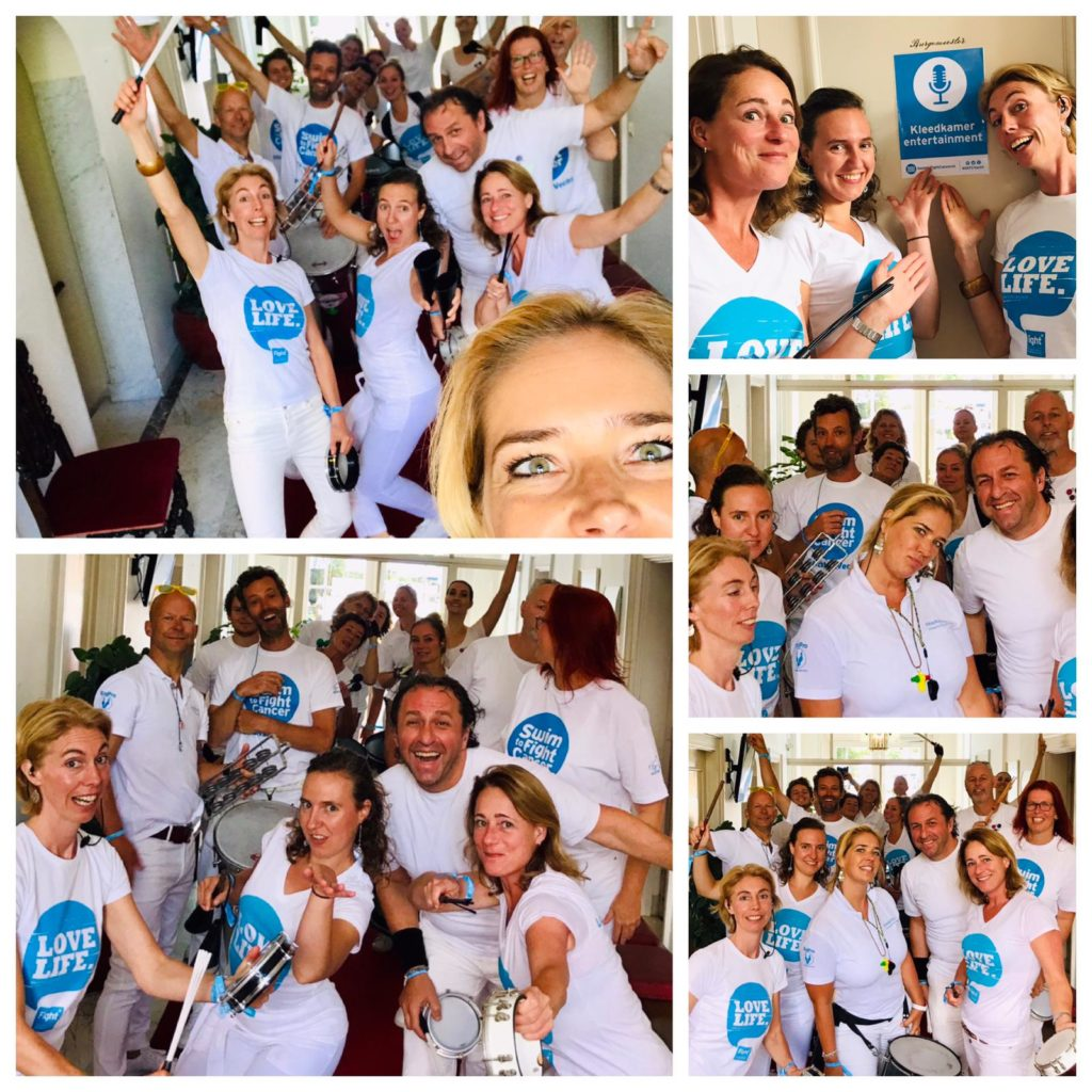 sambaband BooomBassTic! tijdens Swim to Fight Cancer 2019 in Breukelen
